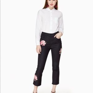 Kate Spade darkrinse rose kick flare jean